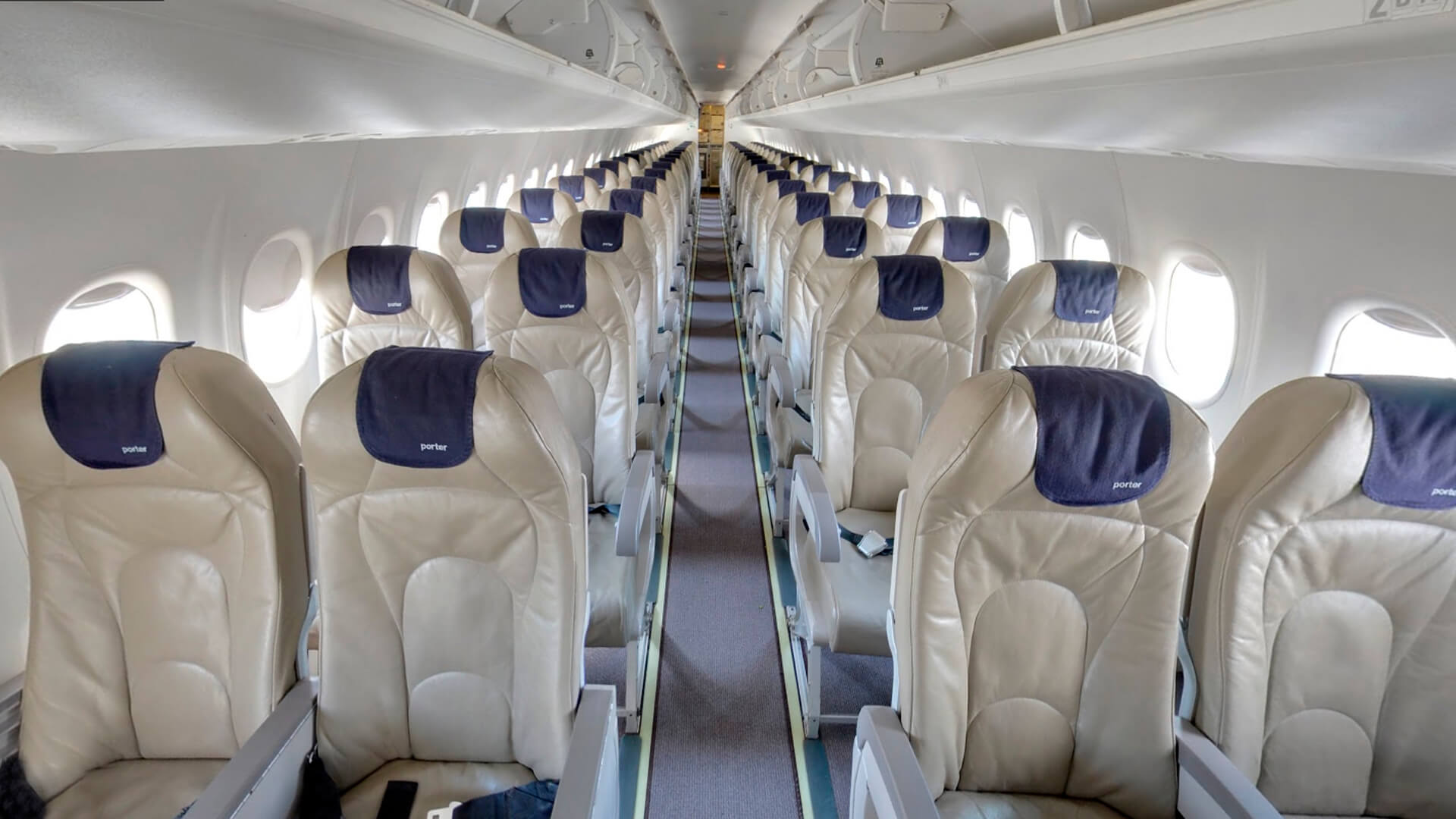 photo inside an porter airlines aircraft